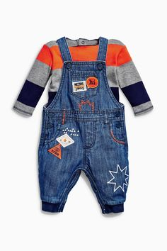 Buy Denim Badged Dungarees And Bodysuit (0mths-2yrs) from the Next UK online shop