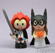Wedding Cake Topper Thundercats Groom & Superhero Bride Superhero Cake Toppers, Personalized Wedding Cake Toppers, Thundercats, Tie Colors, Bride Hairstyles, Colorful Flowers, Bowser, Our Wedding, Wedding Cakes
