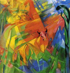 Franz Marc, ANIMALI NEL PAESAGGIO, 1914, 1,25 m x 99 cm, Colore ad olio, Detroit Institute of Arts