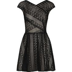 Lover Pyramid cotton-blend lace dress ($180) ❤ liked on Polyvore featuring dresses, vestidos, short dresses, lover, black, black lace dress, black fitted dress, black lace cocktail dress and short black cocktail dresses