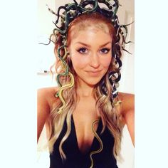 Medusa Costume! Just attach rubber snakes to a headband. Use fishnet as a template for the scales on forehead with eyeshadow