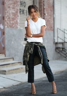 Pants: LOFT Tee: Civilianaire Camo jacket: Civilianaire Heels: Madewell Sunglasses: Karen Walker
