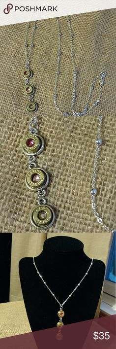 Bullet Necklace Bullet Jewelry 380 Caliber Pink ombre triple stacked real .380-caliber bullet casing pendant on a 26-inch station bead chain.  Swarovski crystal centers in hot pink, light pink, and aurora borealis.  Pendant is 2 inches long. Jewelry Necklaces