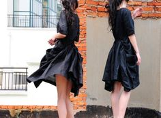 Folding fan waves / black linen dresses by yuan123 on Etsy