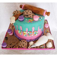Baking themed birthday cake cooking fondant cookies and macarons pipping bag rolling pin cake for baker Cake Icing, Fondant Cakes, Cupcake Cakes, Cupcake Ideas, Themed Birthday Cakes, Themed Cakes, Cakes Originales, Baker Cake, Fantasy Cake