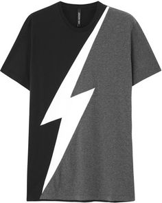 Neil Barrett Lighning bolt cotton T-shirt