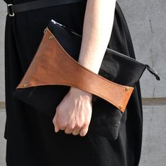 Leather Detail Crossbody Bag / Clutch in Cognac by SalmiakStudio