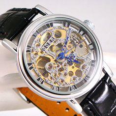 Plata Mecánico De Cuerda Esqueleto Steampunk Cuero Negro Reliquia Reloj Unisex   Jewelry & Watches, Watches, Parts & Accessories, Wristwatches   eBay!