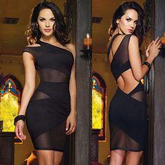 Lady Womens Sexy Black Clubwear One Shoulder Night Pub Mini Top Dress + G-String #Unbranded #OneShoulder #Clubwear