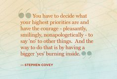 Stephen Covey quote about priorities
