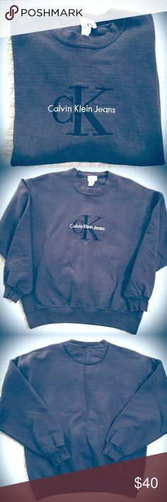 Vtg CK Jeans Sweatshirt Ahhhmazing VINTAGE Calvin Klein Jeans sweatshirt in navy blue. Perfectly broken in, but still just perfect. Thick, old school, and like I said....simply amazing. Get it while it's hot. Or just get it! You won't regret it. Unisex Size Medium. Calvin Klein Jeans Tops Sweatshirts & Hoodies