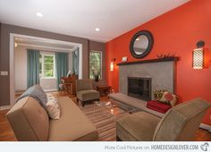 modern living room design red accent - Google Search