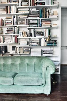 velvet sofa + bookshelves | Blissful Corners: Velvet || Bliss