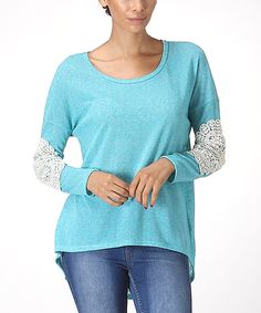 This Turquoise Lace Patch Top by Illa Illa is perfect! #zulilyfinds