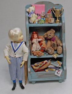Dolls house Miniature Nursery Antique Style Childs distressed Toy Shelf Unit Dollhouse