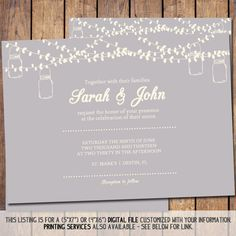 Mason Jar Wedding Invitation 5x7 Save the by JoyPribishDesigns, $25.00