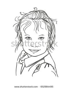 Hand drawn pretty girl's portrait in line art style, Vector illustration isolated on white