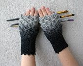 Crocheted fingerless gloves made by Latvian mother/daughter