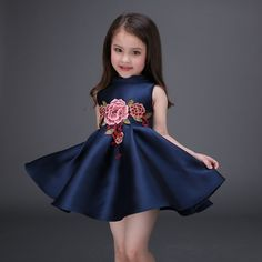 >> Click to Buy << Retail Taffeta Sleeveless Kid Girls Summer Causal Dress Elegant Embroidery Girls Evening Party Dress Communion Dress  L-78 #Affiliate