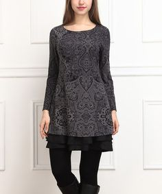 Another great find on #zulily! Charcoal & Black Floral Ruffle Hem Tunic #zulilyfinds
