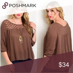 9️⃣Plus Mocha Quarter Sleeve Blouse This top is a rich mocha color with a knit detailing at the collarbone.  This is lightweight and perfect for fall weather.  Get this now!  It may go fast!  2 XL  available 2 2XL available 2 3XL available  Material: 100% polyester.   Made in China. S Rosebud Fashions Tops Blouses