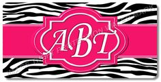 Zebra Style Personalized Your Monogram Initials Vanity Auto License Plate Tag