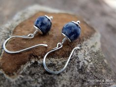Sodalite earrings ball earrings / dangle & drop by WoodlandAndMoon