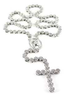Iced Out 36' Silver Rosary Cluster Simulated Diamond Chain Necklace Cross 14K Finish >>> More info could be found at the image url.