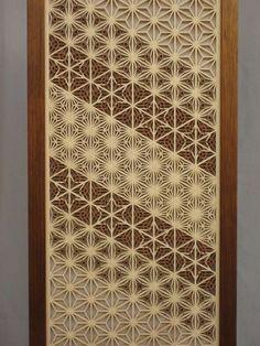 Detail of the different patterns — Asa-no-ha (麻の葉); Kawari-asa-no-ha (変り麻の葉); Kawari-yae-zakura (変り八重桜); and Yae-asa-no-ha (八重麻の葉).: