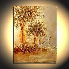 Lourds texturé des arbres fleurissant de paysage peinture peintures acryliques tons or par Osnat - sur commande - 30 « x 40 »