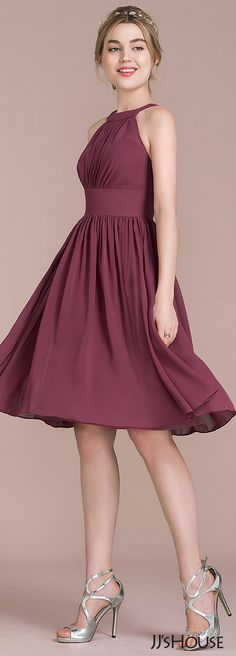 A-Line& Scoop Neck Knee-Length Ruffle Zipper Up Covered Button Regular Straps Sleeveless No Mulberry Spring Summer Fall Winter General Plus Chiffon Bridesmaid Dress Lovely Dresses, Sexy Dresses, Dress Outfits, Evening Dresses, Short Dresses, Fashion Dresses, Prom Dresses, Formal Dresses, Kohls Dresses
