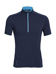 Icebreaker Men's Strike Short Sleeve Half Zip Top, Admiral Heather/Admiral Heather/Cyan, Medium >>> Be sure to check out this awesome product.