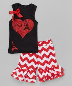 Loving this Black 'Paris' Tank & Ruffle Shorts - Infant, Toddler & Girls on #zulily! #zulilyfinds