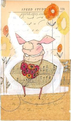 Girl And Bird Art Print We Are At The Curve That Never Ends - Bird Art Medium Art Mixed Media Collage Collage Art Whimsical Art Altered Art Art For Art Sake Childrens Book Illustration Limited Edition And Archival Print Of A Mixed Media Painting Three Little Pigs, This Little Piggy, Art Du Collage, Art Fantaisiste, Pig Art, Pig Birthday, Art Journal Inspiration, Children's Book Illustration, Whimsical Art