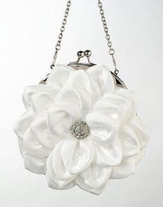 white satin flower purse