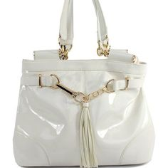 Click Here and Buy it On Amazon.com $39.99 Amazon.com: New Arrival Designer Inspired Fashion Exotic Shiny Surface Fringe Tote Satchel Glossy Handbag Official Structured Purse with Adjustable Shoulder Strap in White: Clothing