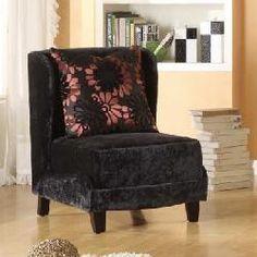 Armen Living Lc7118Blpufl 7118 Hampton Club Chair In A Black Velvet Fabric And Coordinating Pillow