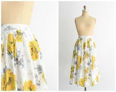 prachtige vintage jaren 1950 hoge taille witte katoenen rok met geel en grijs…