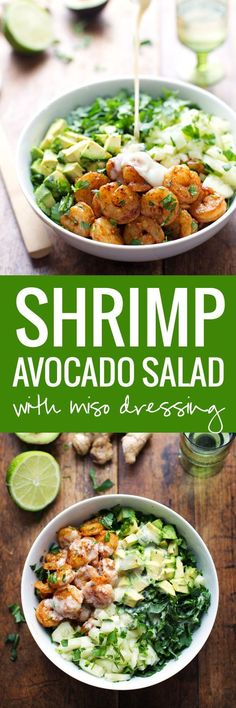 This Spicy Shrimp and Avocado Salad has cucumbers, baby kale, shrimp, and avocado with a creamy miso dressing. SO YUMMAY. | pinchofyum.com: