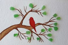 Red bird sitting on a branch with sea glass leaves, sea glass art, original watercolor