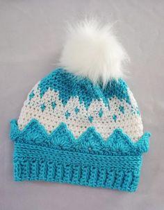 Crochet Crown Hat Free Pattern Crochet Towel, Crochet Mittens, Crochet Hooks, Crochet Baby, Free Crochet, Kids Crochet, Crocheted Hats, Fingerless Mittens, Knit Hats