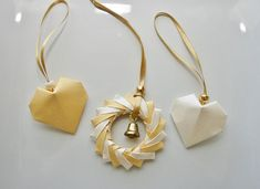 Christmas Ornament.Set of 3 Origami by ThePaperDecor on Etsy