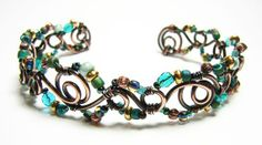 Wire and bead cuff bracelet