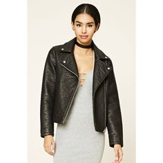 Forever21 Textured Moto Jacket (1,535 INR) ❤ liked on Polyvore featuring outerwear, jackets, zip jacket, rider jacket, moto jackets, textured jacket and moto zip jacket