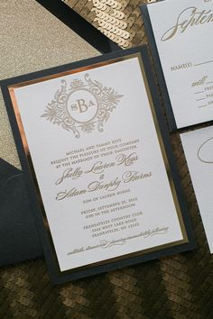 ABIGAIL Suite Fancy Glitter Package, black and gold, glitter wedding invitations, black tie wedding, monogram