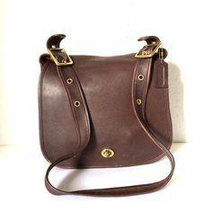Vintage Coach Brown Crossbody Leather Saddle Bag Saddle