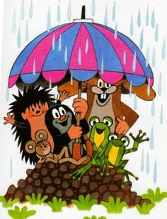 Krtek and his friends sheltering from the rain La Petite Taupe, Mole, Illustrations, Cute Illustration, Beautiful Children, Cute Cartoon, Cartoon Characters, Bowser, Childhood Memories