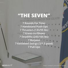 7 Rounds For Time: 7 Handstand Push-Ups; 7 Thrusters (135/95 lbs); 7 Knees-to-Elbows; 7 Deadlifts (245/165 lbs); 7 Burpees; 7 Kettlebell Swings (2/1.5 pood); 7 Pull-Ups