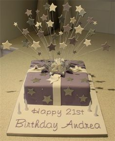 Amanda's Cakes and Invitations - Birthday Cakes- purple exploding present cake Birthday Cakes, Birthday Invitations, Present Cake, 21st Cake, Cake Decorating Classes, Star Cakes, Awesome Cakes, Are You The One, Icing