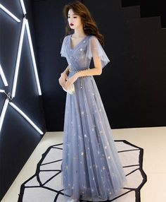 Blue tulle long prom dress, blue tulle bridesmaid dress 91 · PrettyLadys · Online Store Powered by Storenvy Prom Dresses Under 100, Prom Dresses 2018, Cheap Prom Dresses, Dresses Dresses, Long Dresses, Dress Long, Elegant Dresses, Pretty Dresses, Beautiful Dresses
